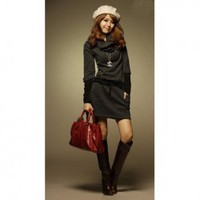Elegant Scarf Style Collar Lace-Up Long Dark Grey Sleeves Dress For Women China Wholesale - Sammydress.com