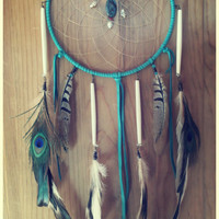 light dreams... 8 inch protective dreamcatcher with Crysicola, coral and seashells