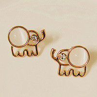 Lovely Beige Opal Rhinestone Elephant Stud Earrings from LOOBACK FASHION STORE
