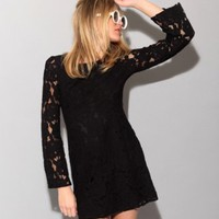 Lace bell sleeve black dress [Mmc1723] - $73 : Pixie Market, Fashion-Super-Market