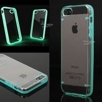 Luminous Style Glow Hard Bumper Skin Back Case Cover For iPhone 5 5G 5th Blue