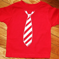 White Stripes Tie T Shirt in Red and White by OVELO on Etsy