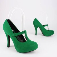 velvet finish t-strap pump &amp;#36;26.40 in GREEN PURPLE RED - Stunning Shoes | GoJane.com