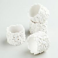 White Floral Napkin Rings, Set of 4