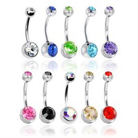 Lot of 10 Double Jeweled CZ Crystal Gem Belly Button Navel Rings 316L Surgical Steel 14 Gauge (10 P