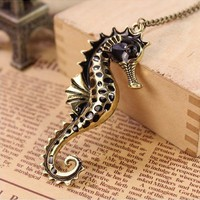 SALE! Steampunk Big Bronze Seahorse Pendant Necklace