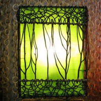 Meranda Bamboo Table Lamp with Green Silk Lining by House of Asia - Free Shipping - Bambooki.com