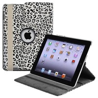 eForCity 360-degree Swivel Leather Case Compatible with Apple iPad 2 / iPad 3rd Gen / The new iPad / iPad with Retina display / iPad 4, White / Black Leopard