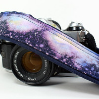 Galaxy No.73 Camera Strap , Hand painted, dSLR or SLR, Cosmos, Nebula, OOAK