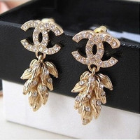 Chanel Gold Wheat Earrings