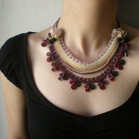 Phlox Subulata Beaded Crochet Necklace by irregularexpressions
