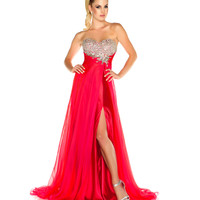 Mac Duggal Prom 2013 - Strapless Cherry Gown With Rhinestone Embellishments - Unique Vintage - Cocktail, Pinup, Holiday & Prom Dresses.