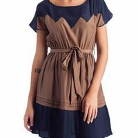 two tone pleated trim dress $39.10 in RYLBLK - Dressy | GoJane.com