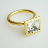 Square Setting Ring With Clear CZ In 14K Gold