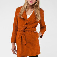 Wool Collared Jacket in Burnt Orange :: tobi