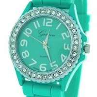 Aqua Ceramic Style Silicone Gel Band Crystal Women&#x27;s Watch: Watches: Amazon.com