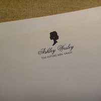 Personalized Custom Stationery Stationary - Bride Silhouette