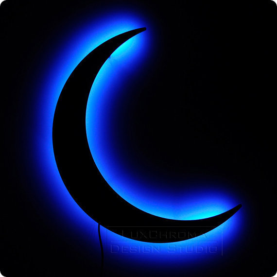 Crescent moon night light blue lighted from luxchroma design