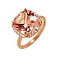 18k Rose Gold Natural Morganite & Diamond Right Hand Ring Size 5.75 Ct.tw 5.20