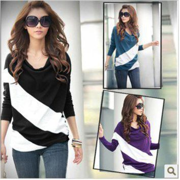 NEW LONG 4 COLORS LADY'S BATWING CASUAL SLEEVE T-SHIRT TOPS STRIPE BLOUSE