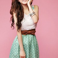 Women Korea Cute Bowknot Lace Sleeveless Tunic Dotted Mini Dress Charming Summer