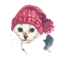 Cat Watercolour Painting, Original Art, Kitten Watercolor, Knit Hat, 8x10, Nursery Art