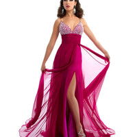 Mac Duggal Prom 2013 - Magenta Chiffon Gown With Rhinestone Bust - Unique Vintage - Cocktail, Pinup, Holiday & Prom Dresses.