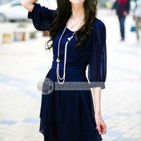 TYF Women Chiffon Bowknot Round Neck Three Quarter Sleeve Dress - DinoDirect.com