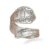 Silver Oxidized Floral Spoon Ring