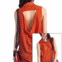 sheer polka dot cut-out back top $27.60 in RUST - Short Sleeve | GoJane.com