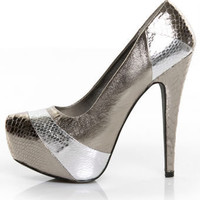Qupid Penelope 12 Pewter Snakeskin Platform Pumps - &amp;#36;36.00 &amp;#36;