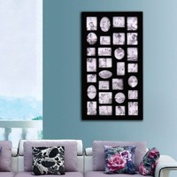 9105 ADECO 29-opening Wooden Wall Black Collage Photo Picture Frame Wall Decor , Holds Different Si