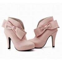 Lovely and Fashionable Style Bowknot and Rhninstone Embellished High-Heeled Ankle Boots For Women China Wholesale - Sammydress.com