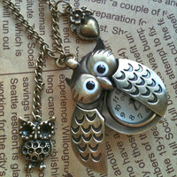 Owl antique bronze Pocket Watch Necklace by Victorianstudio