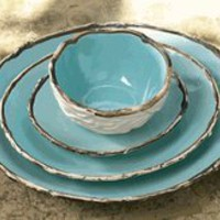 Robin&#x27;s Egg Blue Plates &amp; Bowls