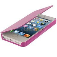 Hot Pink Leather Hard Case Folio Pouch Front Cover for iPhone 5 5G 5th new