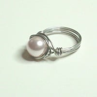 Swarovski Crystal Round Pearl Rosaline Silver Wire Wrapped Ring