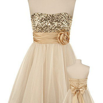 Gold Sequin Tulle Tube Dress - maurices.com