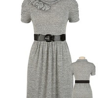 Belted Cowl Neck Dress with Rosettes - maurices.com