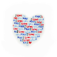 Valentine&#x27;s Day Gift &quot; I Love You MAN&quot;  Personalized hand Painted Porcelain Mug With your message in Heart Shape White Kitchen Decor