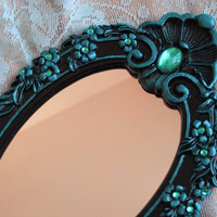 Small Black &amp; Teal Aqua Jewelled Accent by WildMountainStudio
