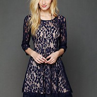 Free People Womens Floral Mesh Lace Dress -