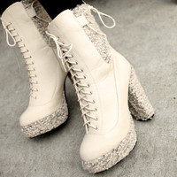 Charming Lace-up Hot Sale Ladies Pumps Apricot : Wholesaleclothing4u.com
