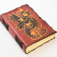 Red Leather Journal with Dragon