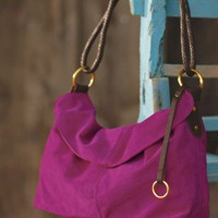 Fuchsia Suede Handbag - VivaTerra