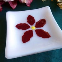 Square Glass Soap Dish with Poinsettia Decor by bprdesigns on Etsy