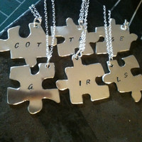 Silver Jigsaw Puzzle Piece Necklace Pendant Best Friend Necklaces Two 3 four five six Silver Puzzle Piece Pendants