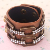 $4.79  Vintage Rhinestone Leather Bangle Bracelet at online vintage jewelry store Gofavor