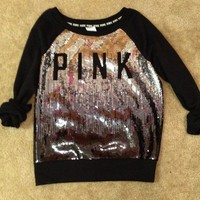 Victoria's Secret PINK Limited Edition Sequin Bling Sweatshirt Crew Medium NWT
