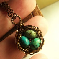 Birds Nest Necklace Solid Copper with Speckled by KarmaBeads
